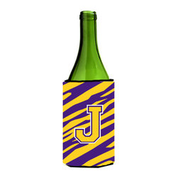 Caroline's Treasures - Monogram - Tiger Stripe - Purple Gold Initial J Wine Bottle Koozie Hugger - Monogram - Tiger Stripe - Purple Gold Letter J Wine Bottle Koozie Hugger CJ1022-JLITERK Fits 750 ml. wine or other beverage bottles. Fits 24 oz. cans or pint bottles. Great collapsible koozie for large cans of beer, Energy Drinks or large Iced Tea beverages. Great to keep track of your beverage and add a bit of flair to a gathering. Wash the hugger in your washing machine. Design will not come off.