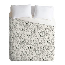 DENY Designs - Allyson Johnson Cat Obsession Duvet Cover - Turn your basic, boring down comforter into the super stylish focal point of your bedroom. Our Luxe Duvet is made from a heavy-weight luxurious woven polyester with a 50% cotton/50% polyester cream bottom. It also includes a hidden zipper with interior corner ties to secure your comforter. it's comfy, fade-resistant, and custom printed for each and every customer.