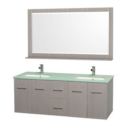 Wyndham - Centra Vanity Double 60in. in Grey Oak w/ Green Glass Top & Square sinks - Simplicity and elegance combine in the perfect lines of the Centra vanity by the Wyndham Collection. If cutting-edge contemporary design is your style then the Centra vanity is for you - modern, chic and built to last a lifetime. Available with green glass, white carrera marble or pure white man-made stone counters, and featuring soft close door hinges and drawer glides, you'll never hear a noisy door again! The Centra comes with porcelain, marble or granite sinks and matching mirrors. Meticulously finished with brushed chrome hardware, the attention to detail on this beautiful vanity is second to none.