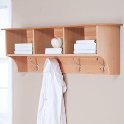 "Prepac Sonoma Maple Entryway Cubbie Shelf and Coat Rack - Walls everywhere love the Prepac Sonoma Maple Wall Coat Rack. It includes four large double hooks and three storage compartments so every coat glove and hat has its own special spot. Constructed of high-quality composite wood laminate in a warm maple finish this wall-mount rack includes an easy-to-install two-piece hanging rail system that's easy to assemble.About Prepac ManufacturingPrepac is a successful designer and manufacturer of functional and stylish RTA (ready to assemble) home furniture. They have been manufacturing state-of-the-art home furnishings and storage products in the heart of the forest-rich West Coast since 1979.To ensure that customers receive the highest quality products Prepac's design engineering production testing and packaging are all performed in-house. Each component of every product is carefully engineered to be produced with minimal handling without compromising quality function and value. Prepac's state-of-the-art materials management system tracks every component from cutting through to packaged goods inventory support and fulfillment to final delivery.Most of Prepac's RTA products are made from a combination of ""engineered woods."" Engineered Wood is a mixture of high quality hard and soft wood materials which generally come from the surplus of original lumber processing. These materials are bonded together with a synthetic resin in a process under high heat and pressure to make a very stable environmentally friendly product. The result is dense strong panels which are then laminated with durable attractive finishes."