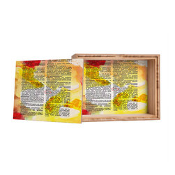DENY Designs - Susanne Kasielke Pretty Dictionary Art Storage Box - Love yourself a knickknack or two (or three)? Well, then this is the box for you! The Amber Bamboo wooden Storage Box is available in two sizes with a printed exterior lid and interior bottom. So, you can still be a collector of sorts, but now you've got an organized home for it all. 100% sustainable, eco-friendly flat grain amber bamboo wood box with printed glossy exterior lid and interior bottom. Custom made in the USA for every order.