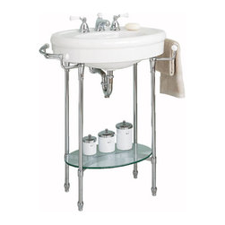 "American Standard ""Standard"" Console sink with Chrome Legs - This is a lovely pedestal sink with a nostalgic traditional feeling. There is enough room near the faucets to place a few necessities and the towel racks on the sides as well as the lower shelf are quite handy."