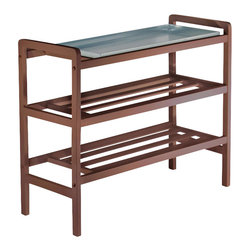 Winsome - Winsome Mud Room Shoe Rack with Zinc Tray in Antique Walnut - Winsome - Shoe Racks - 94633