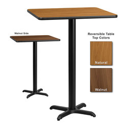 Flash Furniture - Flash Furniture 30 Inch Square Bar Table with Reversible Laminate Top - Complete your restaurant, break room or cafeteria with this reversible table top. The reversible laminate top features two different laminate finishes. This table top is designed for commercial use so you will be assured it will withstand the daily rigors in the hospitality industry. [XU-WNT-3030-GG]