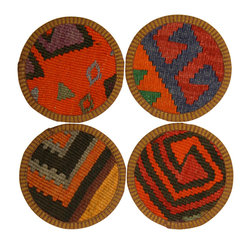 Rug & Relic - Vintage Turkish Kilim Coaster - Rug & Relic's one-of-a-kind Kilim Coaster sets are a perfect addition to almost any home, and make great hostess or housewarming gifts. Each coaster is individually cut from a repurposed hand-woven vintage kilim, and is entirely unique. But they aren't just pretty. The absorbency of wool, combined with a leather backing ensures your coffee table will survive almost any party unscathed. They'll even hold up to kids! These coasters are made to be used, and will serve as an attractive yet functional conversation piece for years to come.