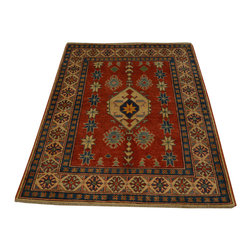 1800-Get-A-Rug - 100% Wool Kazak Oriental Rug Geometric Hand Knotted Oriental Rug Sh16672 - Our Tribal & Geometric hand knotted rug collection, consists of classic rugs woven with geometric patterns based on traditional tribal motifs. You will find Kazak rugs and flat-woven Kilims with centuries-old classic Turkish, Persian, Caucasian and Armenian patterns. The collection also includes the antique, finely-woven Serapi Heriz, the Mamluk Afghan, and the traditional village Persian rug.
