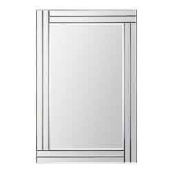 "Ren-Wil - Ren-Wil MT1284 Portrait Baton Rouge in All Glass - This contemporary design features a dimensional beveled-mirror ""Step"" frame that is staggered around the beveled center mirror. With its sleek look and clean lines this mirror is a great look that surely earns the ""Wow"" factor."