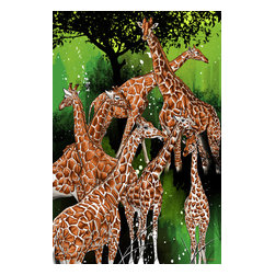 "Maxwell Dickson - Maxwell Dickson ""Group of Giraffe"" Modern Animal Canvas Art Print Artwork - We use museum grade archival canvas and ink that is resistant to fading and scratches. All artwork is designed and manufactured at our studio in Downtown, Los Angeles and comes stretched on 1.5 inch stretcher bars. Archival quality canvas print will last over 150 years without fading. Canvas reproduction comes in different sizes. Gallery-wrapped style: the entire print is wrapped around 1.5 inch thick wooden frame. We use the highest quality pine wood available."