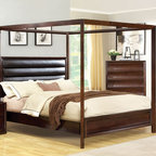 $850 Free Shipping~~ Walnut Wood California King Poster Canopy Bed Padded Leathe - Walnut Wood California King Poster Canopy Bed Padded Leather headborad CM7117CK