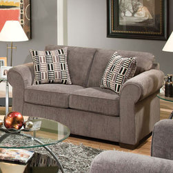"""Acme Furniture - Torilyn Loveseat in Lola Steel Fabric - Torilyn Loveseat in Lola Steel Fabric; Finish: Lola Steel Fabric; Mahogany Plastic Leg, with 2 Pillows, Loose Seat Cushion (Removable Cover), Tight Back; Weight: 100 lbs; Dimensions: 64""""L x 36""""D x 36""""H"""