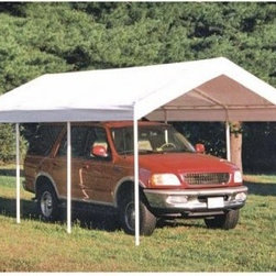 ShelterLogic 20 x 10 Heavy Duty All-Purpose Canopy - From the #1 shelter manufacturer in North America comes the ShelterLogic 10 x 20 SUPER MAX 8-Leg Canopy a professional-quality canopy that effortlessly provides instant shade and protection from the elements. Housing a number of excellent innovations in shelter design and built from only the most dependable materials this piece promises to work perfectly in any situation - from decks and patios to vehicle storage and special events. The ShelterLogic 10 x 20 SUPER MAX 8-Leg Canopy features:Sturdy high-grade 2-inch-thick steel frame subjected to a proprietary 13-step Rhino Shield steel surface preparation process then bonded with DuPont thermoset baked-on powder coat. Prevents chipping peeling rust and corrosionAdvance-engineered triple-layer polyethylene cover UV-treated inside and out with patented fade blockers and anti-aging/anti-fungal agents resulting in a 100% waterproof cover that withstands the elements.Quick and easy setup built in with slip-together swedged tubing and patented Twist Tite tensioning squares up frames and tightens down covers for a clean and finished look. All of this comes together in the hands of ShelterLogic a company world-renowned for its constant commitment to quality and pioneering designs so well illustrated in this canopy. The ideal shelter solution for any outdoor event the ShelterLogic 10 x 20 SUPER MAX 8-Leg Canopy means instant and effortless shade and protection.
