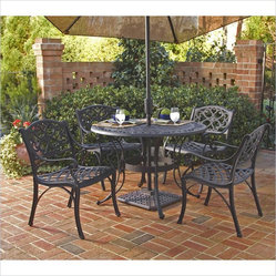 "Home Styles Biscayne 5PC 42"" Round Outdoor Dining Set in Black Finish"