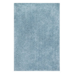 """Loloi - Loloi Cozy Shag CZ-01 (Light Blue) 5' x 7'6"""" Rug - The contemporary Cozy Shag Collection is made in China of thin and thick polyester yarns in ivory, sand, taupe, prune and oasis green"""