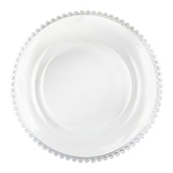 Jay Import Co. - Beaded Charger Plate, Clear - Play Mary Queen of Scots any night of the week at your very own dinner table with this subtly royal charger plate. The beaded rim, which you can color coordinate with your tablecloth, adds an elegant touch to any setting.