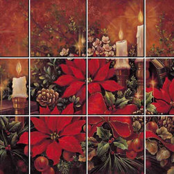 IdeaStix - Christmas Poinsettia 12-Piece Mural IdeaStix Peel and Stick - IdeaStix Mural transforms an ordinary tiles and such into beautiful art decorations.  Made from proprietary rubber-resin, 12-Piece Mural Premium Peel and Stick Tile Decor is sized for 4.5 x 4.5 inch tiles and offers a quick and easy solution of having a great Tile Mural in kitchen or bath/shower.  With water/heat/steam-resistant, nontoxic, washable, removable and reusable features, it is ideal for kitchen backsplash and bath/shower tile cecoration and suitable for smooth and non-porous tile surfaces in hot, wet and humid areas.  Surface can be washed with most household cleaning products.