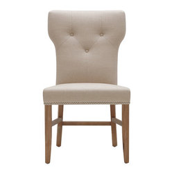 """Sunpan Modern - Prague Parsons Chair (Set of 2) - Features: -Material: Fabric/Leather.-Frame: Solid wood.-Beautiful slightly over sized.-Lightly distressed reclaimed looking legs.-With silver nail head.-Stretchers add strength and make this chair contract viable.-Finish: Reclaimed look.-Distressed: No.Dimensions: -Seat Height: 19"""".-Overall Height - Top to Bottom: 36"""".-Overall Width - Side to Side: 20"""".-Overall Depth - Front to Back: 20"""".-Overall Product Weight: 35 lbs.Warranty: -This item is deemed acceptable for both residential and nonresidential environments such as restaurants, hotels, lounges, offices and reception areas. Please note that this item carries the manufacturer's standard ONE YEAR WARRANTY from the date of purchase. Please contact Wayfair customer service or sales representatives for further information."""