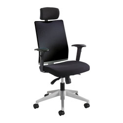 Safco - Safco Tez Manager Chair with Headrest in Black - Safco - Office Chairs - 7030BL -About This Product: Don't be a Tez! With this mesh back chair you'll persuade everyone to take a seat. This managerial chair will lure everyone with its foam lined, mesh back upholstery for style and comfort and heavy-duty Steel frame for durability. Height-adjustable, articulating headrest. The chair features a syncro-tilt mechanism with four locking positions and multi-adjustable T-pad arms.