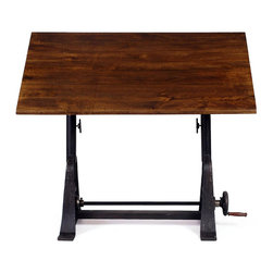 The Drake Drafting Table - Bring distinctive, vintage-inspired style to your workspace with this bold drafting table. Mounted on a distressed cast iron base, its sturdy hardwood top adjusts with an exposed crank to fit the needs of your task.