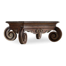 Hooker Furniture - Square Cocktail Table - Choose this coffee table for the focal point of your living room. Its hardwood square top is embellished by ornate, carved, spiral-shape legs. Choose from pecan, hickory, ash, black walnut and maple veneers, with resin and silver highlights.