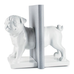 Torre Tagus - Pug Dog Bookends, Set of Two, White - Set of two. Resin.