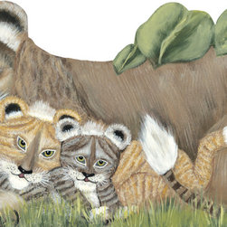 jungle lion and cubs - Lifesize, realistic jungle animals are reproductions of original artwork.