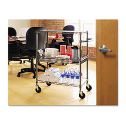 """Alera - Three-Tier Rolling Cart in Black - Ideal storage solution for industrial and commercial use. Snap-together design assembles in minutes. Strong welded wire construction provides exceptional strength and stability. Open design allows air circulation and reduces dust build-up. Finish on surface prevents corrosion in wet, humid environments. Safeguards for freezer, restaurant, food service, indoor/outdoor, or other wet/dry storage requirements. Rolls with ease on four casters (two locking). Features: -Color: Black anthracite. -Material: Welded wire. -Caster/Glide/Wheel: Four 4"""" locking casters. -Warranty: 5 Years. -Capacity (weight): 500 lbs.. Dimensions: -40"""" H x 30"""" W x 18"""" D, 40.52 lbs."""