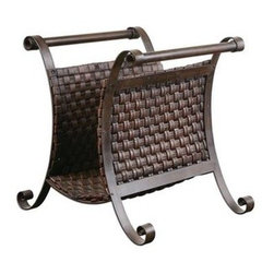 Uttermost - Uttermost 19543 Brunella Dark Mocha Magazine Holder - Stand is made of hand forged metal with woven straps of faux leather finished in dark mocha brown.