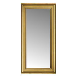 """Posters 2 Prints, LLC - 18"""" x 32"""" Arqadia Gold Traditional Custom Framed Mirror - 18"""" x 32"""" Custom Framed Mirror made by Posters 2 Prints. Standard glass with unrivaled selection of crafted mirror frames.  Protected with category II safety backing to keep glass fragments together should the mirror be accidentally broken.  Safe arrival guaranteed.  Made in the United States of America"""