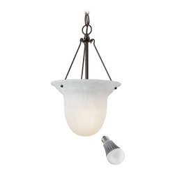 Kichler Lighting - Kichler Mini-Pendant with Alabaster Glass and LED Bulb - 661-30/8W LED - Classical royal bronze 1-light mini-pendant light with 9.5-watt LED light bulb, equivalent to 60-watts incandescent. This mini-pendant features an alabaster glass shade in an elongated bowl shape and fits great in a bathroom, bedroom or dining area. The deep, rich royal bronze finish goes well with a variety of color schemes. Features a medium base with white diffuser and vented heat sink. Takes (1) 9.5-watt LED A19 bulb(s). Bulb(s) included. Dry location rated.