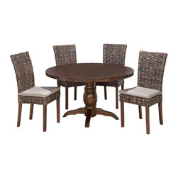 Jofran - Jofran 733-52 Urban Lodge 5-Piece Round Dining Room Set with Rattan Chairs - Materials: solid Asian hardwood