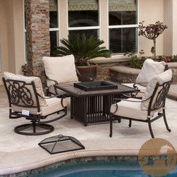 Christopher Knight Home - Christopher Knight Home Hemmingway 5-piece Fire Pit Set - For the ultimate in outdoor versatility, the Hemmingway 5-piece firepit chat set offers a table, a firepit, and a comfortable spot to sit with your guests. Complete with powder-coated cast aluminum and Sunbrella brand cushions for outdoor use.
