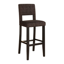 "Linon Home Decor - Linon Home Decor Vega Bar Stool Myrtle Jet X-U10WTNRB45041 - The 30"" Vega Bar Stool features a sleek black finish. Great for homes with modern style, this stool has a padded Myrtle Jet Tweed Fabric seat and back. The legs are slightly tapered for a more elegant look, while the four foot rails provide stability and comfort. This stool is durable enough for a busy kitchen, yet elegant enough for a more formal setting. 275 pound weight limit."