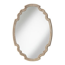 "Uttermost - Country - Cottage Ludovica 24"" x 35"" Wall Mirror - The Ludovica wall mirror offers a touch of European elegance for your home. The design features an oval shape with arch accents top and bottom. The frame is in a wood finish with a gray and white wash. Design is by Grace Feyock for Uttermost. May be hung vertical or horizontal. No bevel on the glass. Hang weight of 27 pounds. Glass only is 21 1/4"" wide 32"" high. Frame is 24"" wide 35"" high.  Ludovica wall mirror.  Oval shape with arch frame accents.  Wood finish with a gray and white wash.   No bevel on the glass.  May be hung vertical or horizontal.  Design by Grace Feyock for Uttermost.  Hang weight of 27 pounds.   Glass only is 21 1/4"" wide 32"" high.   Frame is 24"" wide 35"" high."
