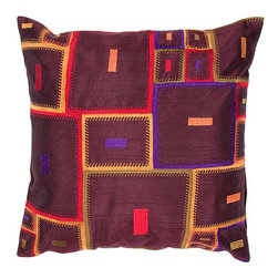 Jaipur - Portabella Purple and Red 18-Inch Square Pillow - - Inspired by the bohemian European craft techniques of the 60�s this funky range of pillows in poly dupione use rich jewel tones expressed in a highly textural and fun way. Perfect for a touch of retro glamour in your home  - Cleaning and Care: Remove the throw pillow's cover if it is removable. Wash the cover separately from the pillow. Pre-treat badly soiled or stained areas on the pillow cover with a color-safe prewash spray. Rub the spray into the stain with a damp sponge. Wash the pillow cover or the whole pillow on a gentle-wash cycle in warm water with a very mild detergent. Detergent for delicate fabrics or baby clothes is usually suitable. Remove the pillow or pillow cover as soon as the washing machine has ended the cycle and has shut off. Hang the pillow or cover up to dry in a well-ventilated area. If the care label specifies that the item is dryer-safe place the pillow or pillow cover in the dryer and tumble dry on low heat. Fluff the pillow once it is dry in order to maintain its form. Don't use the pillow until it is completely dry. Damp pillows will attract dirt more easily  - Construction: Handmade  - It is Sustainable Jaipur - PLC100109