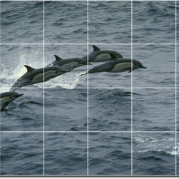 Picture-Tiles, LLC - Dolphins Whales Photo Ceramic Tile Mural 23 - * MURAL SIZE: 48x72 inch tile mural using (24) 12x12 ceramic tiles-satin finish.