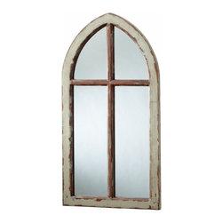 Rustic Green Distressed Arch Wall Mirror - *Durham Mirror