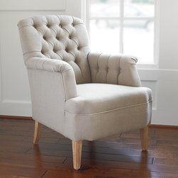 Tufted Linen Arm Chair -