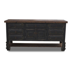 Rustic double sink vanity, 72x20x32 - A larger version of our small smaller black bathroom vanity. This vanity is perfect for a larger bathroom and finished in a matte black finish with small distressing around the corners. The vanity is then protected by a hand rubbed paste wax.