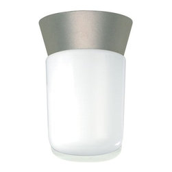 """Nuvo Lighting - Nuvo Lighting 77/155 Single Light 8"""" Ceiling Mounted Utility Fixture with White - Nuvo Lighting 77/155 Single Light 8"""" Ceiling Mounted Utility Fixture with White Glass Cylinder Shade, in Satin Aluminum FinishNuvo Lighting 77/155 Features:"""