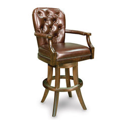 California House - erik swivel bar chair (leather) - Manufactured in the USA, we are proud to offer our customers this premium game room furniture from a third generation, family-owned company.