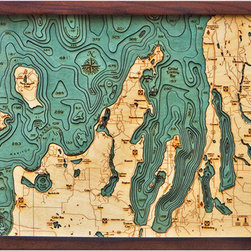Thos. Baker - grand traverse bay (16w 20h) - Laser cut and hand colored in Baltic birchwood, this dramatic Grand Traverse Bay laser cut marine chart (16w 20h) by Thos. Baker is reproduced from an actual hydrographic survey.  Fully framed in solid wood protected by a durable, ultra-transparent sheet of plexiglass. Fasteners not included.��This item size is��16w 20h.