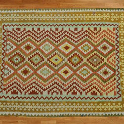 Kilim Qasqagi - Stunning Hand Woven 5'3'' X 6'6'' 100% Wool Vegetable Dye Kilim Oriental Area Rug.