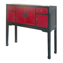 Golden Lotus - Chinese Black&Red Lacquer Entrance Hallway Altar Console Table - This is a Chinese black and red lacquer altar console table which is made of solid elm wood.  It is perfect to put at your entrance hallway.