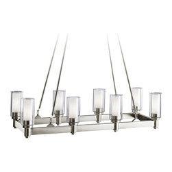"""Kichler - Contemporary Kichler Circolo Silver Large Contemporary Chandelier - The silver finish brings sleek sophistication to this large contemporary chandelier. The clean lines are enhanced by the clear glass cylinders with umber etched centers. The double layer of glass adds a level of depth and visual interest to this transitional style light fixture. This chandelier offers the new modern look with this rectangular design. From the Kichler Circolo Collection. Silver finish large chandelier. Clear and umber etched glass. Takes eight 60 watt medium bulbs (not included). 36 1/2"""" wide. 14 1/4"""" deep. Fixture height is 39 1/4"""". Includes 82"""" of lead wire.  Silver finish large chandelier.  Clear and umber etched glass.  A stylish large chandelier.  From the Kichler lighting collection.  Takes eight 60 watt medium bulbs (not included).  36 1/2"""" wide.  14 1/4"""" deep.  Fixture height is 39 1/4"""".  Includes 82"""" of lead wire."""