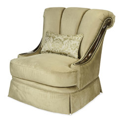 Imperial Court Wood Trim Swivel Chair - Champagne