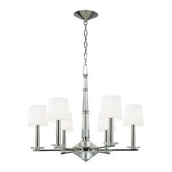 Hudson Valley - 6 Light ChandelierPorter Collection - Hollywood in the 1950s gave birth to a sumptuous style, meant to impress.  This glamorous aesthetic served as the backdrop for America's new royals.  Porter lavishes faceted crystals upon the mirrored shine of Polished Nickel to create a dazzling collecti