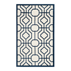 Safavieh - Chantrell Indoor/Outdoor Rug, Ivory / Navy 3' X 5' - Construction Method: Power Loomed. Country of Origin: Turkey. Care Instructions: Easy To Clean. Just Rinse With A Garden Hose. Coordinate indoor and outdoor living spaces with fashion-right Amherst all-weather rugs by Safavieh. Power loomed of long-wearing polypropylene, beautiful cut pile Amherst rugs are made to stand up to tough outdoor conditions, but designed with the aesthetics of indoor rugs. Use these family-friendly geometric designs on patios, in kitchens, busy family rooms and other high traffic rooms.