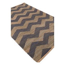 Jaipur Rugs - Naturals Textured Jute Gray/Blue Area Rug (5 x 8) - Simple patterns in two color combinations are used to create this collection of chunky woven jute rugs. Hardy and durable these fringed rug enhance both rustic and modern home environments.
