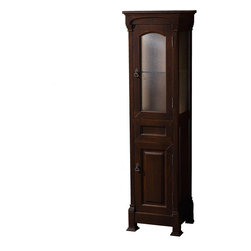Wyndham - Andover Linen Tower - Dark Cherry - A new edition to the Wyndham Collection, the beautiful Andover bathroom series represents an updated take on traditional styling. The Andover is a keystone piece, with strong, classic lines and an attention to detail.; The cabinets are hand carved and stained. Available in Black and Dark Cherry finishes to match any decor.; Complements the Andover vanity line; Free Standing; Shelves and drawers for generous storage; Transitional design and finish; Constructed of environmentally friendly, zero emissions solid oak wood, engineered to prevent warping and last a lifetime; Dark Cherry Finish; Dimensions: Cabinet 18 x 16 x 65