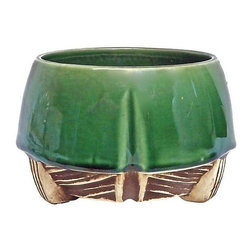 """Pre-owned Art Deco McCoy Ceramic Cachepot - A vintage, 1910-1950, Art Deco McCoy two-tone ceramic cachepot with unglazed painted geometric wood patterned bottom and glazed top. The cachepot is marked, """"McCoy USA"""" on the underside."""